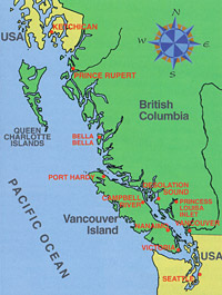 Map of British Columbia coast